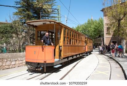 Port de Soller, Mallorca, Spain. April 2018. Vintage tram  at the  railway station at Port Soller.