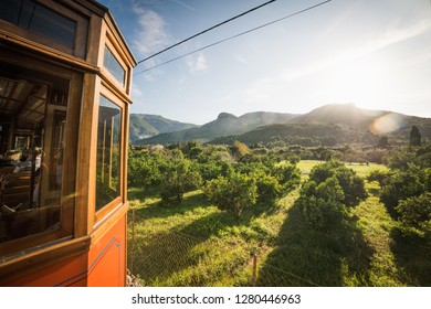 Port de Soller, Mallorca, Spain - 04.11.2018: View from an old electric tram that goes between Port de Soller and Soller city