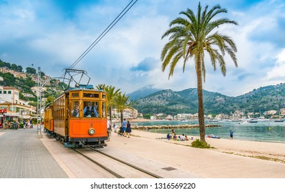 Port De Soller, Mallorca, Spain - October 13, 2017: Famous tramway tren of Port de Soller, Palma Mallorca, Spain