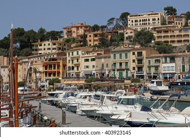 PORT DE SOLLER, MALLORCA, SPAIN, APRIL 6, 2016: yachts in the harbor of Port de Soller. It's a beautiful harbor town and very popular tourist resort in Mallorca.