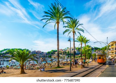 Port De Soller, Mallorca, Spain - October 13, 2017: Famous tramway tren of Port de Soller, Palma Mallorca, Spain