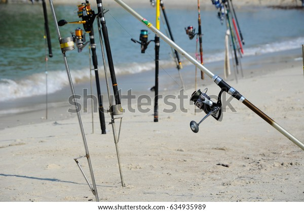 PORT DICKSON, MALAYSIA -APRIL 28, 2017: Fishing rods complete with motor used by fisherman. These rods are used to fish in coastal fishing.
