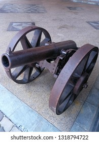Port Dickson, Malaysia February 8, 2019: This mini cannon was a part of the subject displayed at the military museum here, it was made of cast iron and was used by British troops in Malaya.