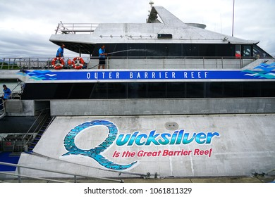 PORT DOUGLAS, AUSTRALIA -1 AUG 2017- Quicksilver Silversonic boats taking tourists on Great Barrier Reef scuba and snorkelling trips at the Port Douglas Reef Marina in Far North Queensland, Australia.