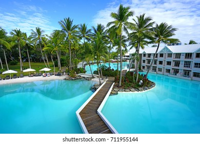 PORT DOUGLAS, AUSTRALIA -1 AUG 2017- The Sheraton Mirage Port Douglas Resort is a luxury hotel located near the Daintree Rainforest and the Great Barrier Reef in Far North Queensland, Australia.