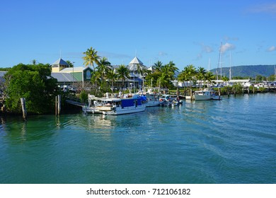 PORT DOUGLAS, AUSTRALIA -1 AUG 2017- The Reef Marina in Port Douglas on the Coral Sea is the departure for most Great Barrier Reef cruise boat trips in Far North Queensland, Australia.