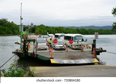 PORT DOUGLAS, AUSTRALIA -1 AUG 2017- The Daintree River Ferry is a cable ferry over the Daintree River. It is the only road access to Cape Tribulation in Far North Queensland, Australia.
