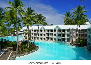 PORT DOUGLAS, AUSTRALIA -2 AUG 2017- The Sheraton Mirage Port Douglas Resort is a luxury hotel located near the Daintree Rainforest and the Great Barrier Reef in Far North Queensland, Australia.