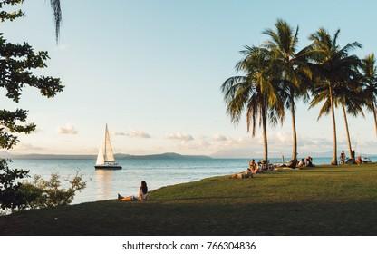 Port Douglas, QLD, Australia - Oct 25th, 2017: Sunset by the ocean