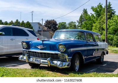 Port Dover, Ontario, Canada - June 17, 2018: Chevrolet Belair Nomad is the Station Wagon version of the Belair, parked in the streets of Port Dover