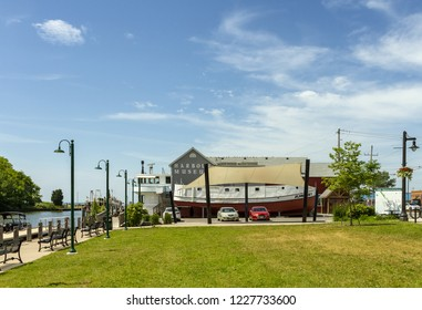 Port Dover, Ontario, Canada - June 17, 2018: Port Dover Harbour Museum view. The Museum uses part of an original fisherman building, showing their history.