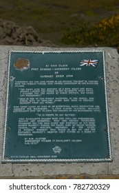 Port Egmont, Saunders Island, Falkland Islands - October 13, 2017: Plaque marking the possession of the Falkland Islands by the United Kingdom in 1765