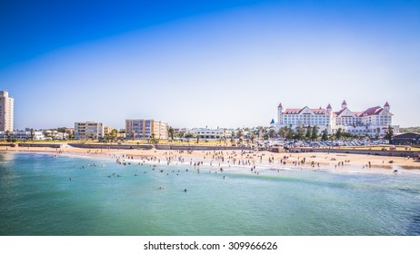 Port Elizabeth, South Africa - 18 JANUARY 2015, Look at the people on the beach waterfront of Port Elizabeth