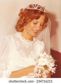 PORT ELIZABETH, SOUTH AFRICA - 1970's: A beautiful young bride on her wedding day