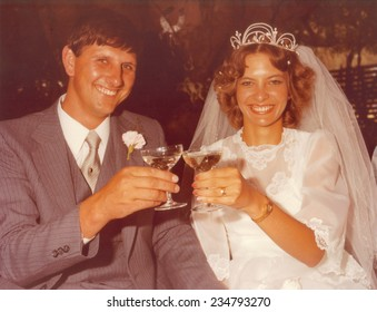 PORT ELIZABETH, SOUTH AFRICA - 1970's: The newly wed couple posing for a photo