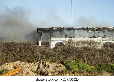 PORT ELIZABETH, SOUTH AFRICA - DECEMBER 5, 2013: The after effects of a bus that had just exploded near the turn-off towards Bluewater Bay in Port Elizabeth, South Africa