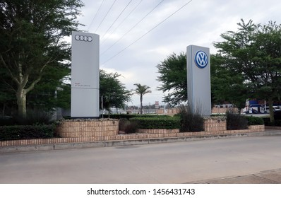 Port Elizabeth, South Africa - February 22, 2019: Volkswagen logo near the VW plant. Volkswagen's manufacturing plant in South Africa. The Volkswagen Group is a global car manufacturer from Germany.