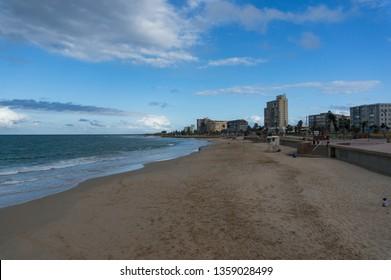 Port Elizabeth, South Africa - January 25, 2019: Port Elizabeth beach and coastline at evening