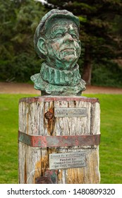 Port Elliot, South Australia / Australia - August 3 2019: Bronze sculpture of Nobby Clark, local identity by Michael Smerd. Horseshoe Bay foreshore area, Port Elliot, South Australia.