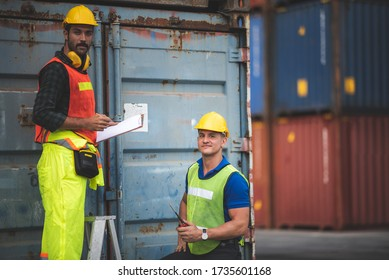 port employee checks containers in the container terminal, concept of logistic transporation international import and export