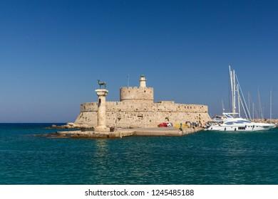 Port entrance of historic harbor in Rhodes