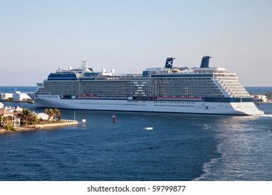 PORT EVERGLADES, FT. LAUDERDALE - FEBRUARY 7: Celebrity Cruise Lines, Celebrity Solstice, prepares to depart for a cruise from Port Everglades February 7, 2010 in Fort Lauderdale, Florida.