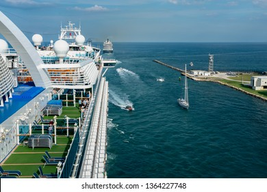 PORT EVERGLADES, FT. LAUDERDALE - March 17, 2019: Cruise Ship, Princess Cruise line, Crown Princess, departs for a Caribbean Cruise from Port Everglades, Fort Lauderdale, Florida