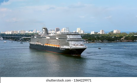 PORT EVERGLADES, FT. LAUDERDALE - March 17, 2019: Cruise Ship, Holland America line, Koningsdam, departs for a Caribbean Cruise from Port Everglades, Fort Lauderdale, Florida