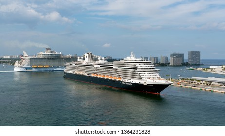 PORT EVERGLADES, FT. LAUDERDALE - March 17, 2019: Cruise Ship, Holland America line, Koningsdam, departs for a Caribbean Cruise from Port Everglades, Fort Lauderdale, Florida.