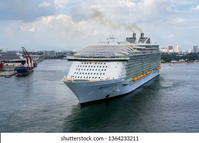 PORT EVERGLADES, FT. LAUDERDALE - March 17, 2019: Cruise Ship, Royal Caribbean, Harmony of the Seas, departs for a Caribbean Cruise from Port Everglades, Fort Lauderdale, Florida