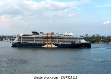 PORT EVERGLADES, FT. LAUDERDALE - March 17, 2019: Cruise Ship, Celebrity Cruises, Celebrity Edge, prepares to depart for a Caribbean cruise from Port Everglades, Fort Lauderdale, Florida