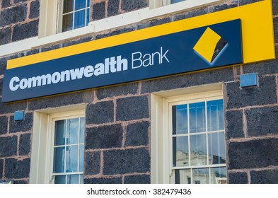 Port Fairy, Australia - January 24, 2016: the Commonwealth Bank of Australia is the largest of Australia's banks.  It has branches throughout Australia, including here in Port Fairy.