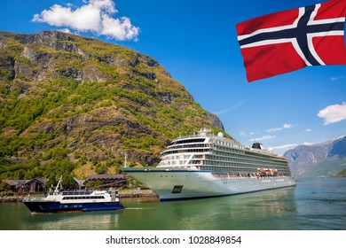 Port of Flam with cruise ship in Norway