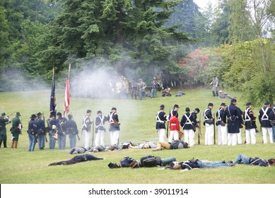 PORT GAMBLE - JUNE 20: Union infantry hold their line as casualties increase during a mock Civil War battle on June 20, 2009 in Port Gamble, WA.