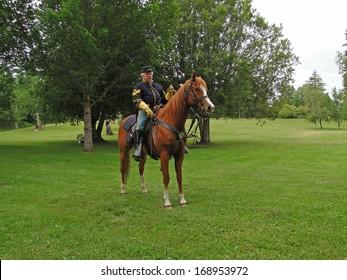 PORT GAMBLE, WA - 20 JUN 2009 -  Union cavalry sergeant on his horse,   CIVIL WAR BATTLE RE-ENACTMENT,