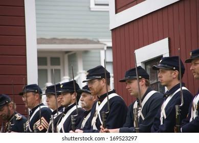 PORT GAMBLE, WA - JUN 20  - Union soldiers standing for review before mock battle Port Gamble WA on Jun 20, 2009.