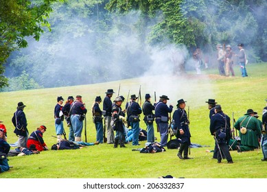 PORT GAMBLE, WA - JUN 20, 2009 - Mock battle takes place by Civil War re-enactors Washington