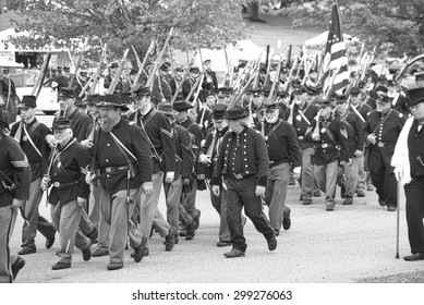 PORT GAMBLE, WA - JUN 20: Civil War reenactors participate in a mock battle. Union army marching to battle in column formation. on Jun 20, 2009 in Port Gamble, WA.