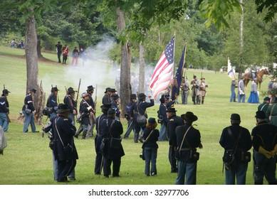 PORT GAMBLE, WA - JUN 20: Union infantry column advancing under Confederate rifle fire in Port Gamble, WA on June 20, 2009.