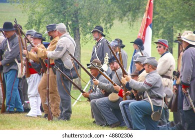 PORT GAMBLE, WA - JUN 20:   Confederate infantry line holds its position during a mock Civil War battle  on Jun 20, 2009 in Port Gamble WA