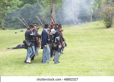 PORT GAMBLE, WA - JUN 20:    Union infantry maneuvers during a mock Civil War battle  on Jun 20, 2009 in Port Gamble WA