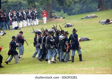 PORT GAMBLE, WA - JUN 20  -   Union infantry maneuvers during a mock Civil War battle  on Jun 20, 2009 in Port Gamble WA