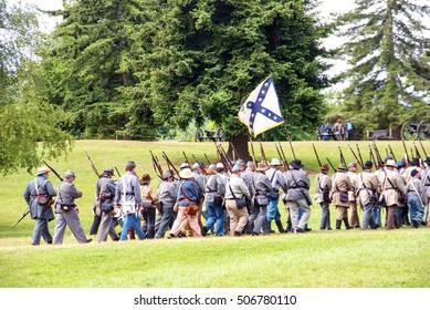 PORT GAMBLE, WA - JUN 20  - Mock battle takes place by Civil War re-enactors Washington