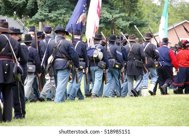 PORT GAMBLE, WA - JUN 20 2009: Union troops marching in column formation,   Civil War Battle Re-enactment,  Port Gamble, WA