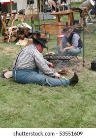 PORT GAMBLE, WA - JUN 20  - Civil War reenactors rest in camp on Jun 20, 2009 in Port Gamble, WA