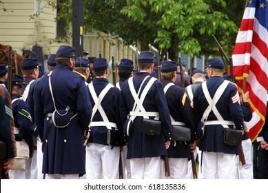 PORT GAMBLE, WA - JUN 20  - Union infantry column waits for action before a mock Civil War battle in Port Gamble WA on Jun 20, 2009.