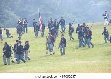 PORT GAMBLE, WA - JUN 20  -  Union infantry maneuvers during a mock Civil War battle on Jun 20, 2009in Port Gamble WA.