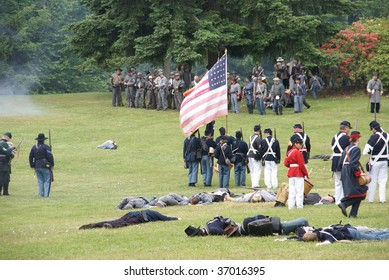 PORT GAMBLE, WA - JUNE 20 : Union infantry hold their line as casualties increase during a mock Civil War battle June 20, 2009 in Port Gamble, WA.