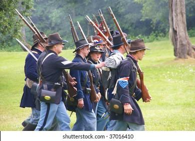 PORT GAMBLE, WA - JUNE 20 :Union Civil War reenactors march during a mock battle June 20, 2009 in Port Gamble, WA.