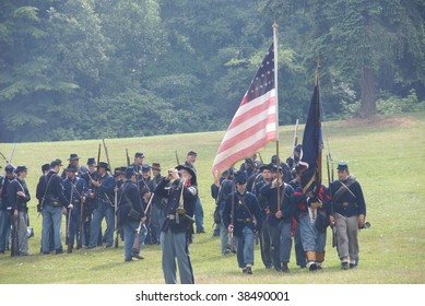 PORT GAMBLE, WA - JUNE 20  : Union infantry form a line for review after a mock Civil War battle on June 20, 2009 in Port Gamble, WA.